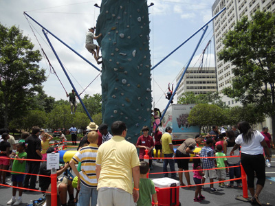 Bungee Trampoline and Rock wall