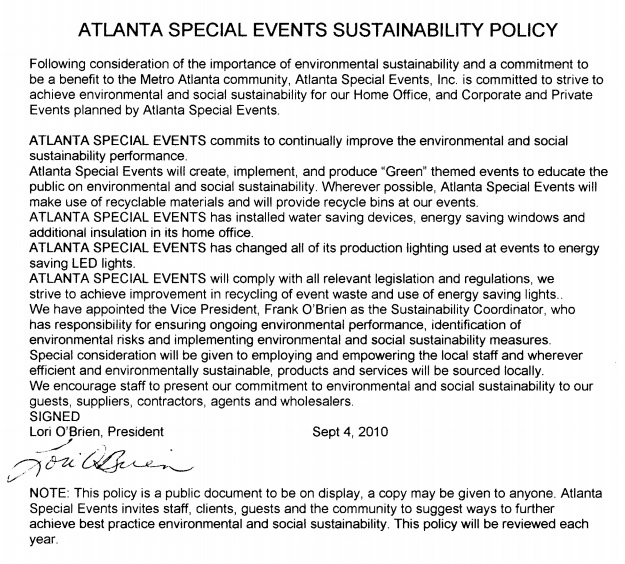 Atlanta Special Events Sustainability Policy